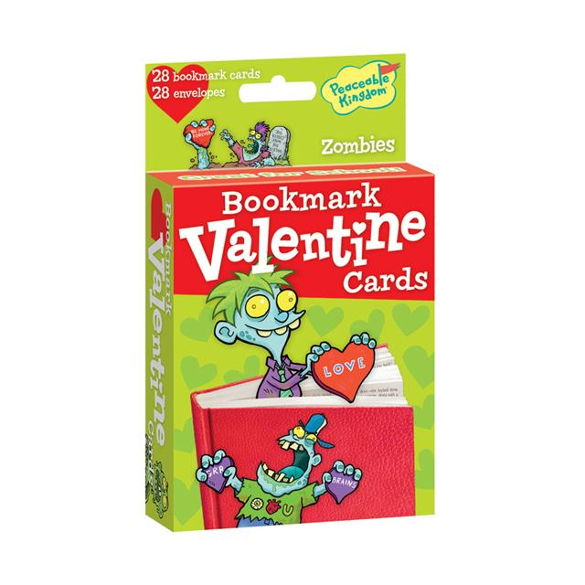 Peaceable Kingdom Zombies Bookmark Valentine Cards