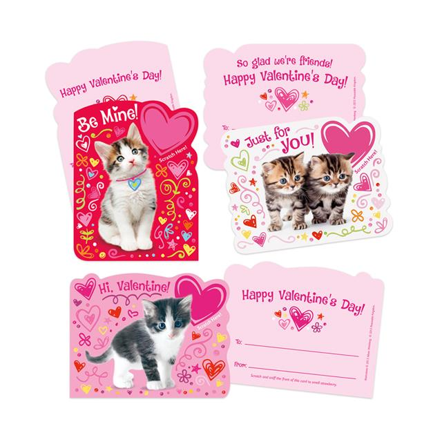 Peaceable Kingdom Kitty Strawberry Scented Scratch & Sniff Valentine Cards