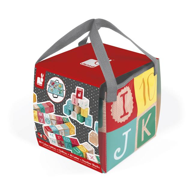 Janod Kubix 40 Letters & Number Blocks with Mat