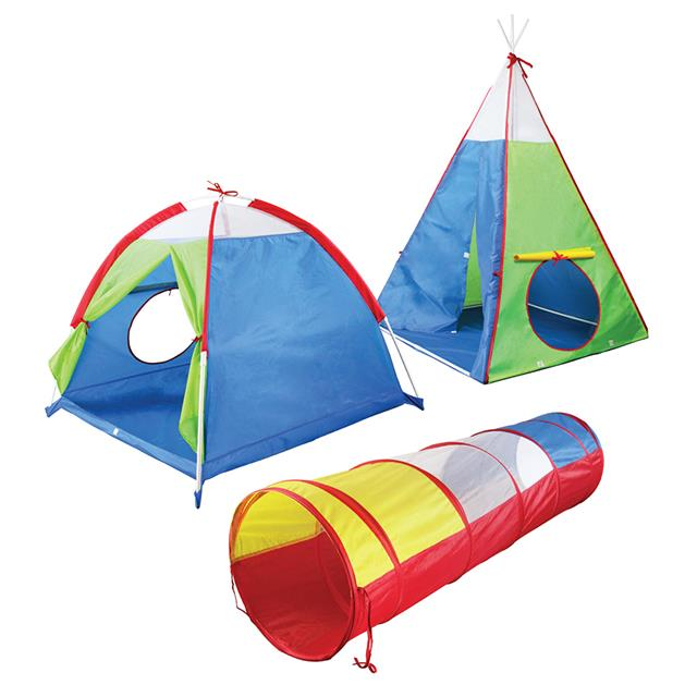 3-in-1 Tent and Tunnel Set with Mesh Window