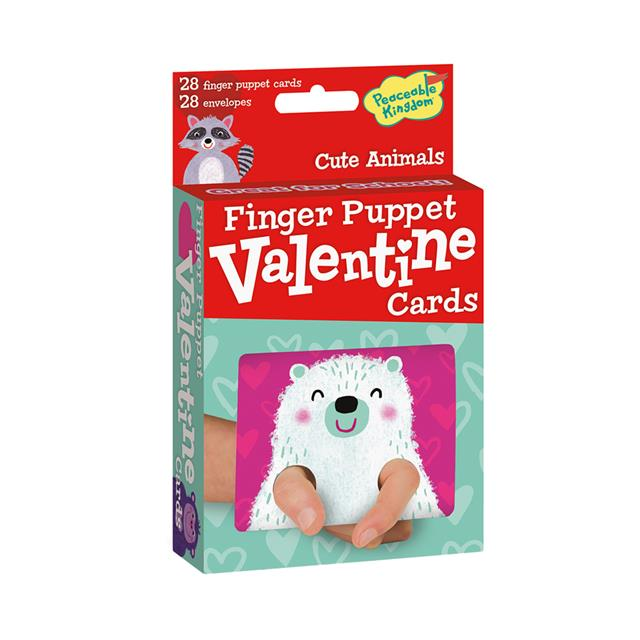 Peaceable Kingdom Cute Animals Finger Puppet Valentine Cards
