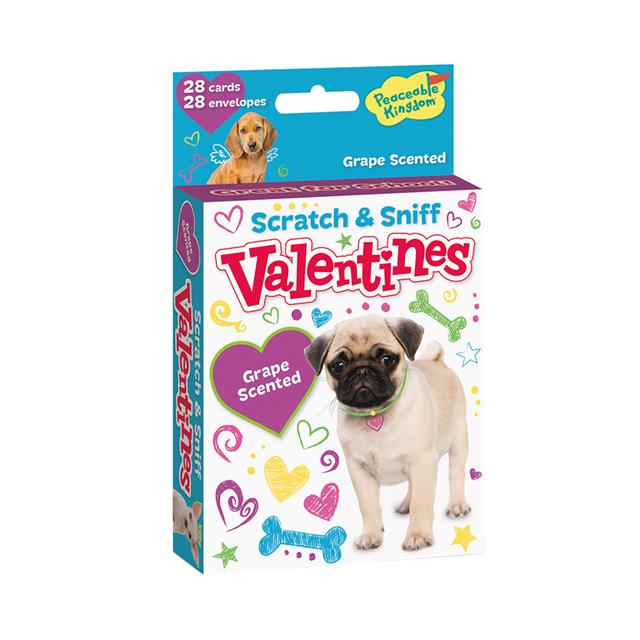 Peaceable Kingdom Puppies Grape Scented Scratch & Sniff Valentine Cards