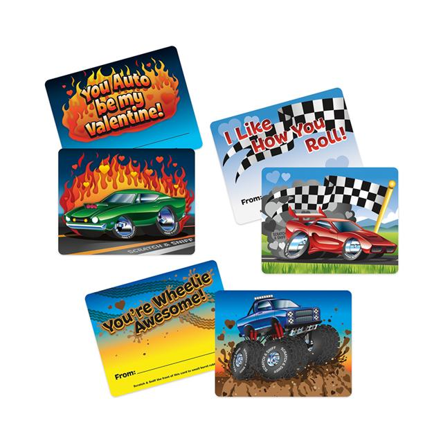 Peaceable Kingdom Fun On Wheels Burnt Rubber Scratch & Sniff Valentine Cards