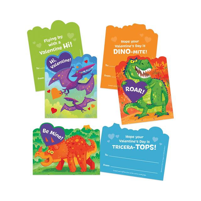 Peaceable Kingdom Dinosaur Grape Scented Scratch & Sniff Valentine Cards