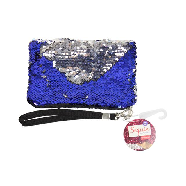Blue & Silver Sequin Coin Purse