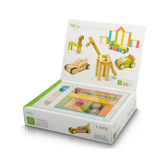Tegu 42 Piece Magnetic Wooden Building Block Set - Tints