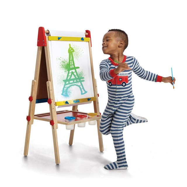 Art Easel with Chalkboard and Magnetic Whiteboard