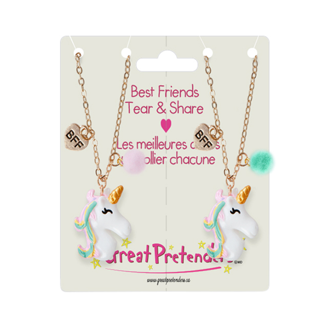Great Pretenders Best Friends Tear & Share Unicorn Necklace Set