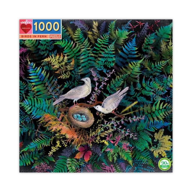 eeBoo Birds in Fern 1000pc Puzzle