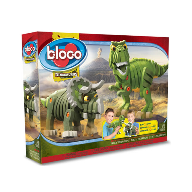 bloco t rex and triceratops dinosaurs