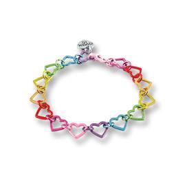 Charm It Rainbow Heart Link Bracelet