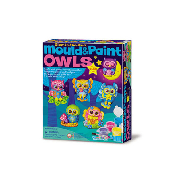 4M Mould & Paint Glow-in-the-Dark Owls Kit